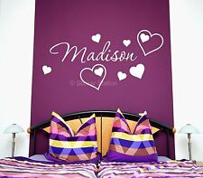 Hearts Personalised Name Wall Art Mural Decal Love Sticker