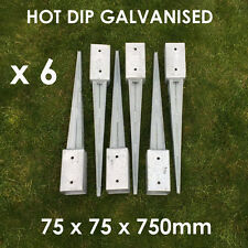 6 FENCE POST SPIKE HOLDER 75MM GARDEN DRIVE IN FENCE SPIKE METAL HOLDERS STAKES