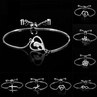 Charm Adjustable Silver Chain Bracelet Charm Bangle Jewellery Women Mother Gift