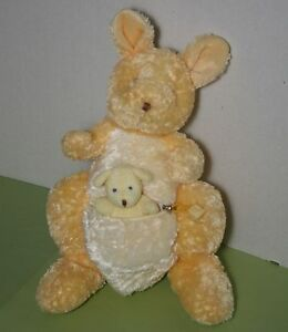 Russ Scoop Yellow Kangaroo Mother And Baby Joey Pouch Zipper Stuffed Plush Toy
