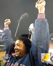 PEDRO MARTINEZ Celebrates Winning 2004 AMERICAN LEAGUE CHAMPIONSHIP 8x10 PHOTO