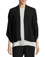 NEW EILEEN FISHER BLACK SILK GEORGETTE CREPE LANTERN SLEEVE SHORT JACKET L $298