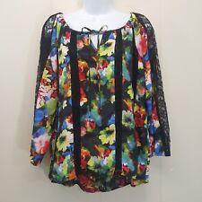 Hot Hollywood Shirt Top Blouse SMALL Floral Lace MAYA Peasant Boho Lacy NEW