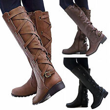 Women Lace Up Riding Boots Mid Calf Knee High Casual Zip Buckle Winter Flat Shoe