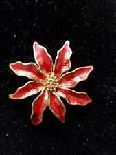 Red Poinsettia Brooch Gold To e