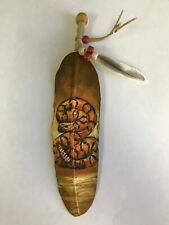 HAND PAINTED FEATHER  , ARTS & CRAFTS ,SOUTHWEST  , SANTA FE  , NEW RATTLE SNAKE