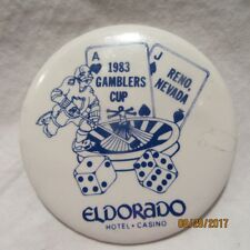 "Eldorado Casino Hotel Reno Nv ""1983 Gamblers Cup"" Button / Pin"