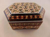 Khatam Jewelry Trinket Gift Box Persian Wooden Handcraft Inlaid Micromosaic Art