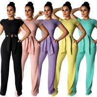 2019 Women Short Sleeves Solid Color Casual Club Party Jumpsuit Pants Set 2pc