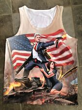 AMERICA Sleeveless Tank T Shirt Bill Clinton Monica Lewinsky Men's Size Large