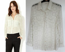 MONSOON Ivory Flora Schiffly Embroidered Long Sleeve Shirt Top UK 12  M