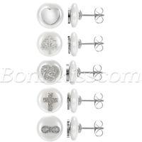 Women's Charm Stainless Steel Imitation Pearl Round Ear Studs Pierced Earrings