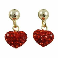 Sterling Silver Gold Plated Red Crystals Hearts Kids Dangle Earrings