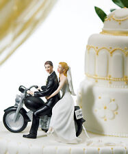Motorcycle Get-Away Couple Porcelain Wedding Cake Topper