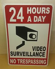 "Lot of 2-24 Hour Video Surveillance No Trespassing 7""x10"" Polystyrene Sign"