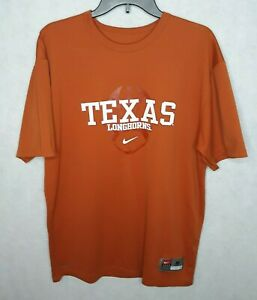 Nike Team Men's Shirt Orange Texas Longhorns Graphic Crew Neck Casual Size M