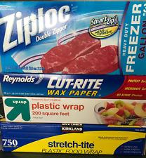 Kitchen Combo-Kirkland Stretch-Tite Plastic Food Wrap 11 7/8 in x 750 ft, Ziploc