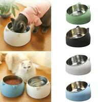 Stainless Steel Cat Dog Food Bowl Slanted Non-slip Pet Utensils Container T1Y5