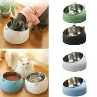 Stainless Steel Cat Dog Food Bowl Slanted Non-slip Pet Utensils Container G5L2