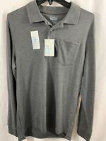 Men's Croft & Barrow Extra Soft Polo Shirt Long Sleeve Gray Size Medium