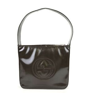 100% authentic Gucci patent leather shoulder bag 0001186 0506 Used 1168-3-B@1