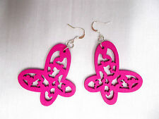 HOT PINK CUT OUT OPEN WING BUTTERFLY SILHOUETTE WOODEN DANGLING INSECT EARRINGS