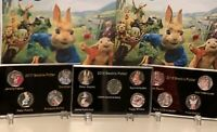 3 X Display Case 2016 2017 2018 Beatrix Potter 50p Coin Print+Stands (NO COIN)