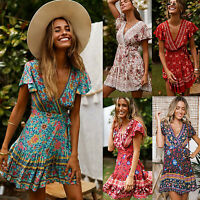 Women's Boho Floral Deep V Neck Wrap Mini Dress Ladies Summer Beach Tea Dresses