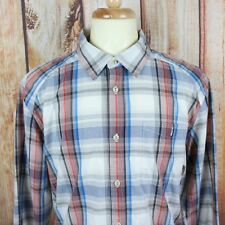 Merrell Men's Button Shirt XL Long Sleeve Plaid Red White Blue