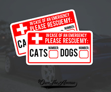 x2 Cat & Dog Pet Emergency Rescue Sticker Decal - Fire safety First Responder 5""