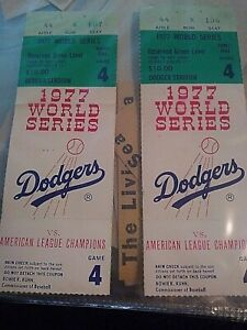Dodgers 1977 World Series tickets game #4