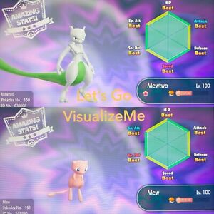 Pokemon Let's Go Pikachu & Eevee - Event Mew & Shiny Mewtwo 6IV/Max/AV - FAST