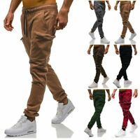 Men's Slim Fit Urban Straight Leg Trousers Casual Pencil Jogger Long Cargo Pants