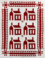 Red & White School House w/ Ohio Stars QUILT TOP Sawtooth bdr - Lap or wall size