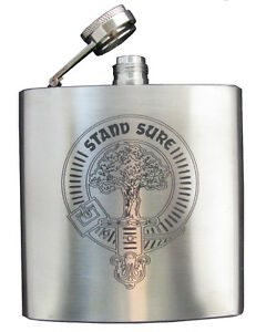 Clan Crest Hip Flask 6oz STEEL FINISH 60 crests A-MacD. UK made/Stainless Steel