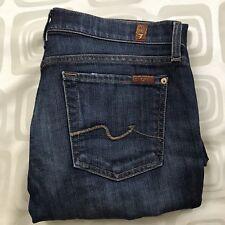 7 For All Mankind Bootcut Womens Dark Blue Distressed Denim Jeans 29 29x32