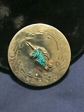 Inlay Turquoise Unicorn Stamped Design Navajo Snuff Can Lid Silver