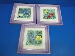 3 LOVELEY TILE EFFECT CERAMIC PICTURES DESIGNED BY CLIFF NEVIN JONES STUDIO VOGU