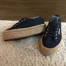 Superga 2790 Cotropew Navy Blue Canvas Platform Espadrille Lace Up Sneakers 36 6
