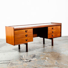 Mid Century Danish Modern Desk Vanity Office Teak 6 Drawer Vintage Denmark