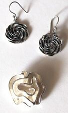 Sterling Silver .925 Abstract Floral Earrings and Pendant SET