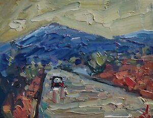 MOUNTAIN ROAD LANDSCAPE OIL PAINTING BY ARTIST VIVEK MANDALIA IMPRESSIONISM
