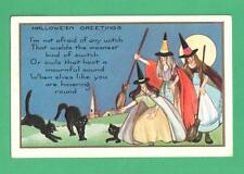 1924 WHITNEY HALLOWEEN POSTCARD WITCHES BROOMS BLACK CATS MOON