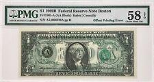 1969 B $1 Federal Reserve Note Offset Printing Error Pmg Choice Au 58 Epq