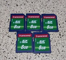 LOT 5 CARDS TRANSCEND MEMORY CARDS  8GB SDHC  MEMORY CARD CLASS 4