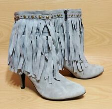 Jeffrey Campbell Tassel Boots Gray Suede Leather Women's Size 10