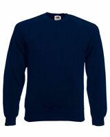 Mens Classic Raglan FOTL Sweatshirt Sweater Jumper Plain Navy | Small