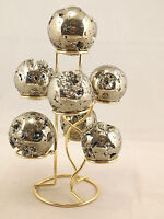 A Neat! SEVEN Sphere, Egg, Golf Ball or Whatever? BRASS or Gold Display Stand!