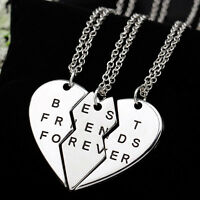 New Pieces Broken Heart Pendant Necklace Chic Best Friends Forever Necklace SK
