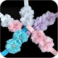 Haarband Doppel Blume Baby Mädchen Stirnband Kopfband Haarschmuck Perlen Strass